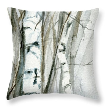 Throw Pillow featuring the painting Winter Birch by Laurie Rohner