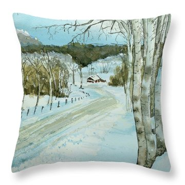 Throw Pillow featuring the painting Winter Birch by Lynn Babineau