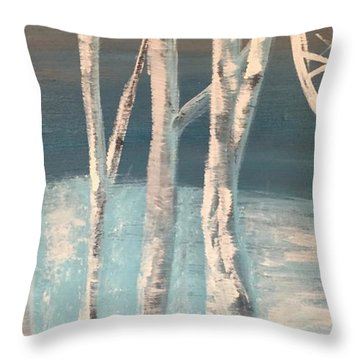 Throw Pillow featuring the painting Winter Birches by Paula Brown