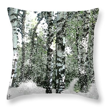 Winter Birches Throw Pillow