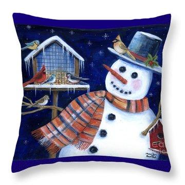 Winter Birds Delight Throw Pillow