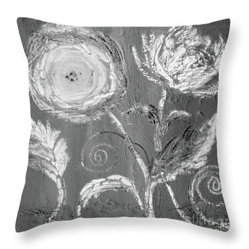 Throw Pillow featuring the digital art Winter Bloom II by Robin Maria Pedrero
