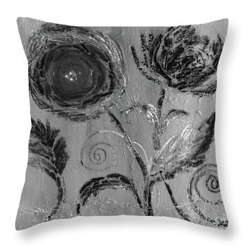 Throw Pillow featuring the digital art Winter Blooms IIi by Robin Maria Pedrero