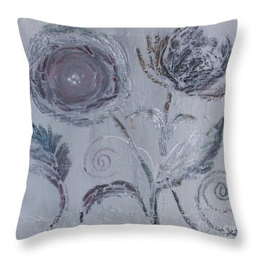 Throw Pillow featuring the painting Winter Blooms by Robin Maria Pedrero