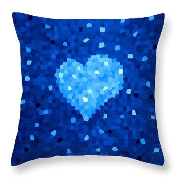 Winter Blue Crystal Heart Throw Pillow
