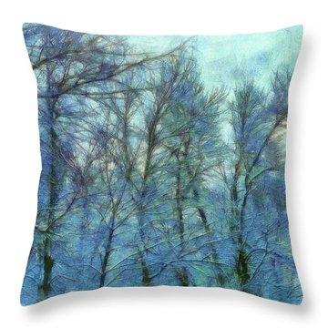 Winter Blue Forest Throw Pillow