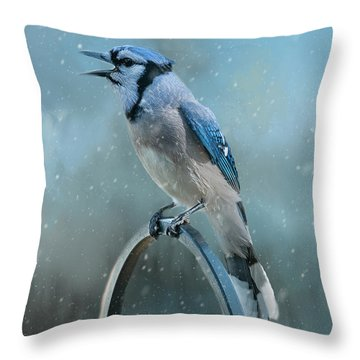 Winter Blue Jay Square Throw Pillow