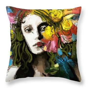 Throw Pillow featuring the mixed media Winter Blues by Carrie Joy Byrnes