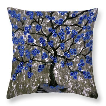 Throw Pillow featuring the painting Winter Blues by Teresa Wing
