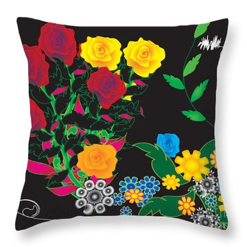 Throw Pillow featuring the digital art Winter Bouquet by Kim Prowse