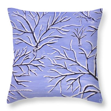 Winter Branches, Painting Throw Pillow