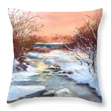 Throw Pillow featuring the painting Winter Brook by Jack Skinner