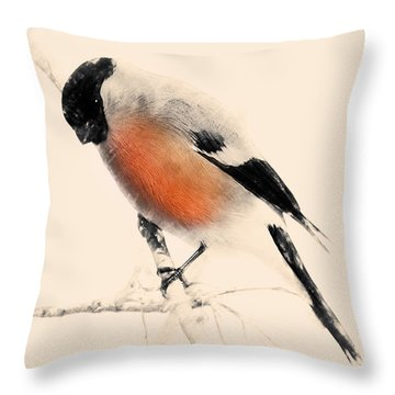 Winter Bullfinch Throw Pillow
