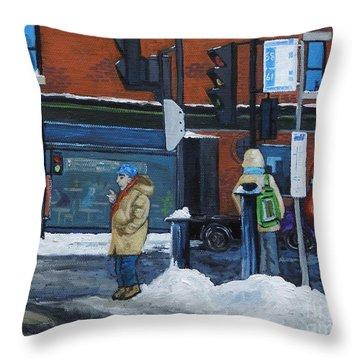Winter Bus Stop Throw Pillow