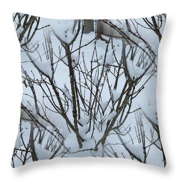 Winter Bush Tree Throw Pillow