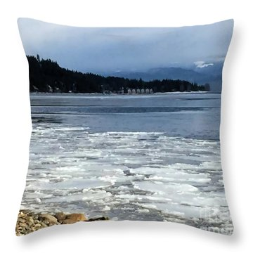 Cottage Life In Winter Throw Pillow