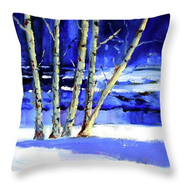 Throw Pillow featuring the painting Winter By The River by Nancy Merkle