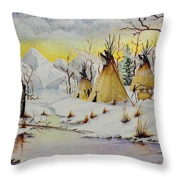 Winter Camp Throw Pillow by Jimmy Smith