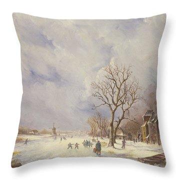Winter Canal Scene Throw Pillow by Jan Lynn