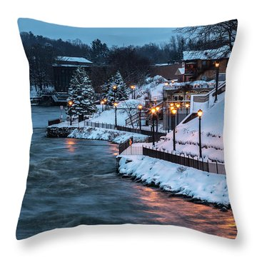Throw Pillow featuring the photograph Winter Canal Walk by Everet Regal