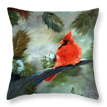 Throw Pillow featuring the painting Winter Cardinal by Brenda Thour
