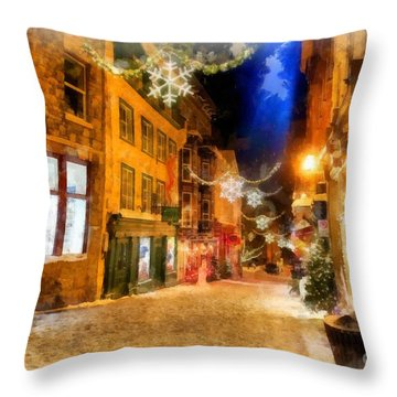 Winter Carnival Old Quebec City Lower Town Throw Pillow
