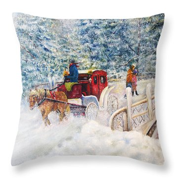 Winter Carriage In Central Park Throw Pillow