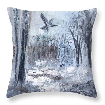 Throw Pillow featuring the painting Winter Caws by Robin Maria Pedrero