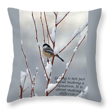 Throw Pillow featuring the photograph Winter Chickadee Giving by Diane E Berry