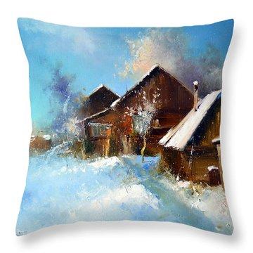 Winter Cortyard Throw Pillow