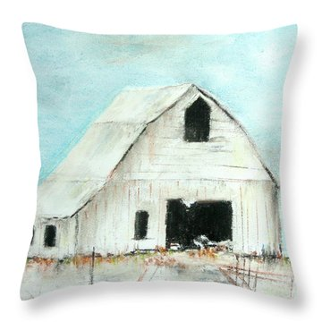 Winter Country Barn Throw Pillow