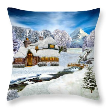 Winter Country Cottage Throw Pillow