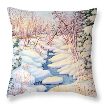 Throw Pillow featuring the painting Winter Creek 1  by Inese Poga