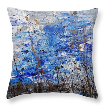 Throw Pillow featuring the painting Winter Crisp by Jacqueline Athmann
