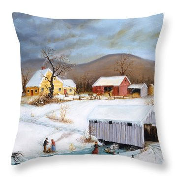 Winter Crossing Throw Pillow by Joseph Holodook