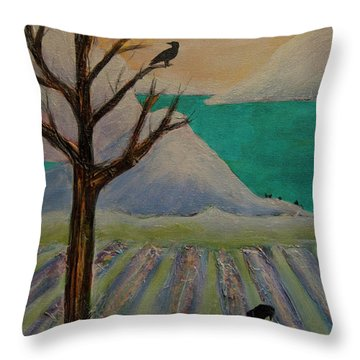 Winter Crows Throw Pillow