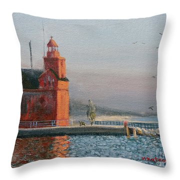Winter Day At Big Red Throw Pillow