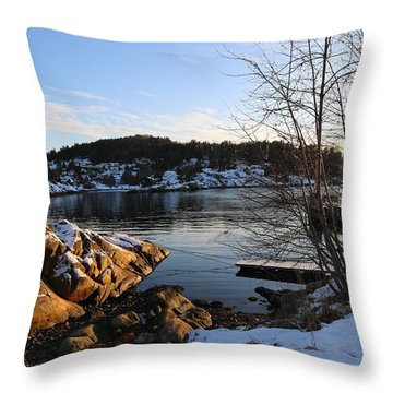 Winter Day By The Oslo Fjords, Norway.  Throw Pillow