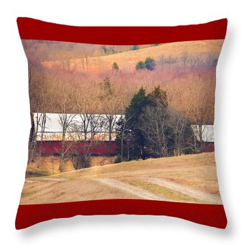 Winter Day On A Tennessee Farm Throw Pillow by Debbie Karnes