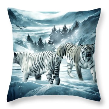 Winter Deuces Throw Pillow by Lourry Legarde