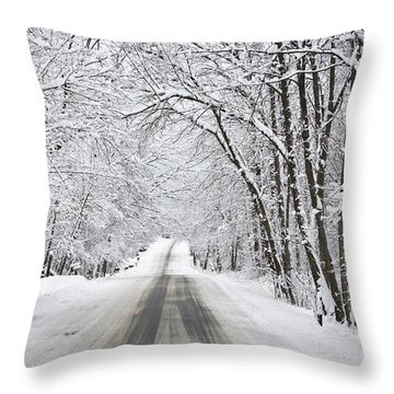 Winter Drive On Highway A Throw Pillow