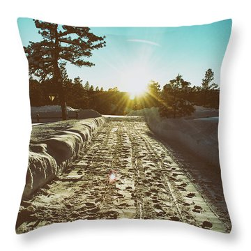 Winter Driveway Sunset Throw Pillow