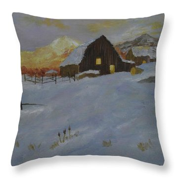 Winter Dusk On The Farm Throw Pillow