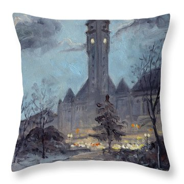 Winter Dusk - Union Station Throw Pillow