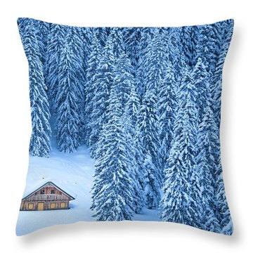 Winter Escape Throw Pillow by JR Photography