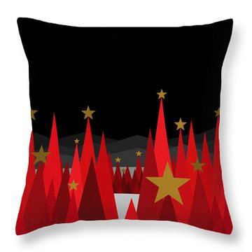 Winter Eve Stars Throw Pillow by Val Arie