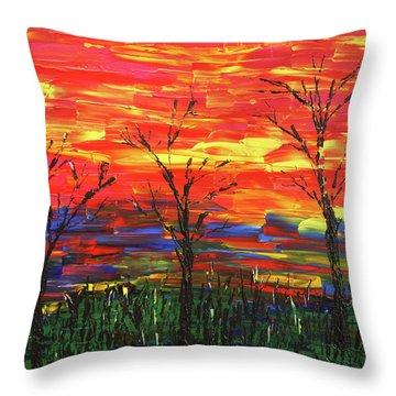 Winter Evening Throw Pillow by Erik Tanghe