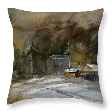 Winter Evening In A Small Town Throw Pillow