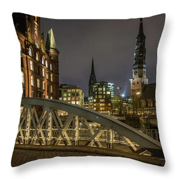 Winter Evening In Hamburg  Throw Pillow