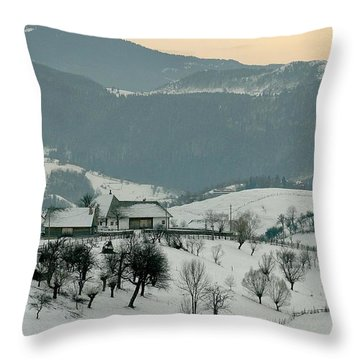 Winter Evening In The Mountains Throw Pillow